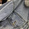 Куртка джинсовая женская зимняя с большим меховым капюшоном, фото 10