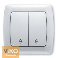 VIKO CARMEN Выключатель двойной проходной белый/крем