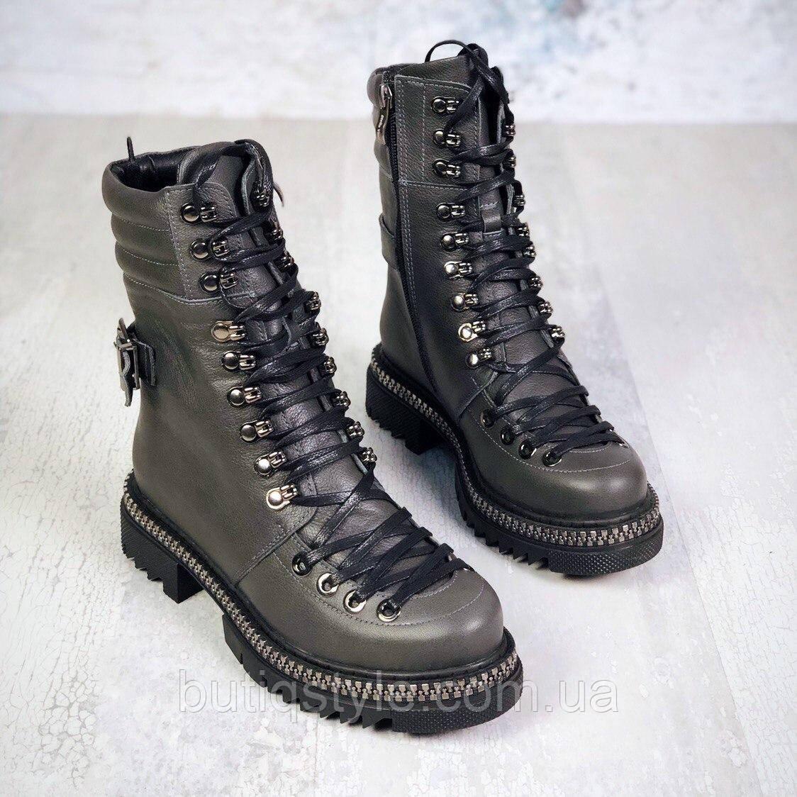 37 размер Зимние серые ботинки на шнуровке натуральная кожа Зима
