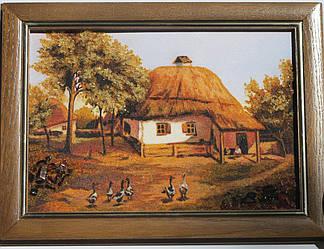"""Картина из янтарной крошки """"Украинская хата"""" (пейзаж) 20х30"""