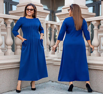 """Элегантное женское платье в больших размерах 3252 """"Армани Миди Строчки"""" в расцветках"""