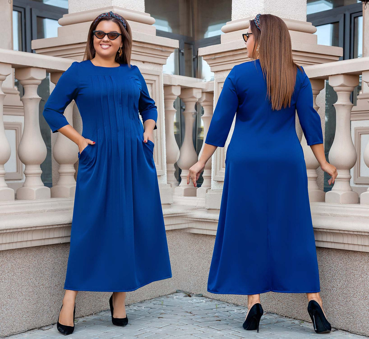 """Женское платье в больших размерах 3252 """"Миди Строчки"""" в расцветках"""
