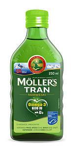 Mollers tran omega-3 норвезький риб'ячий жир для дітей від 3 років і дорослих зі смаком яблука, 250 мл