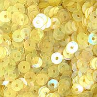 Пайетки Индия 5 мм. Круглая плоская. Желтый (прозрачный). Упаковка 5 гр.