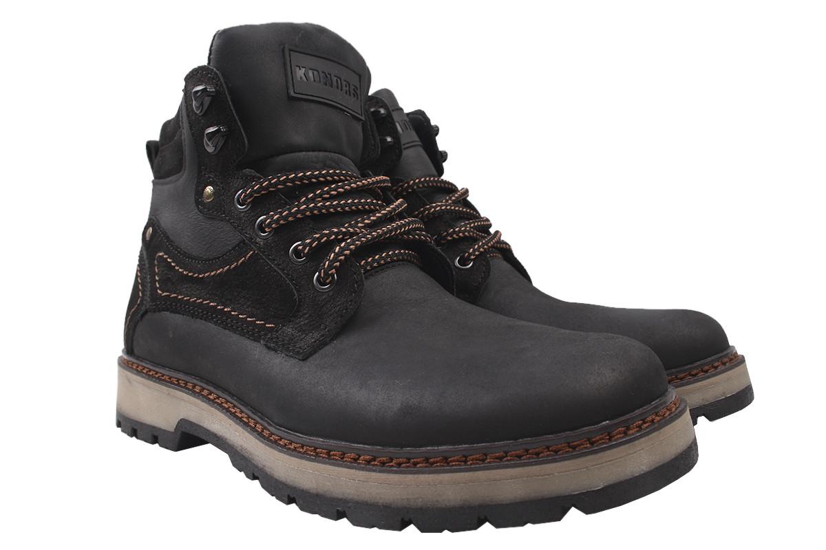 Ботинки мужские зимние Konors нубук, цвет черный, размер 40-45