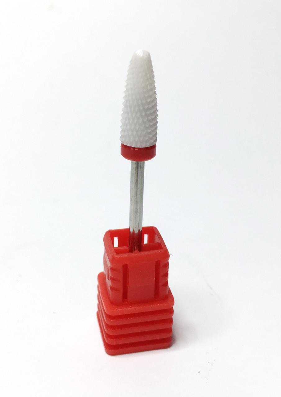 Фреза для маникюра керамическая красная продолговатая снятие гель лак Кукуруза F 3/32 Flame (C)