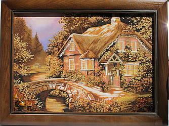 """Картина з бурштинової крихти """"Будиночок з кам'яним мостом"""" (пейзаж) 30х40 см"""