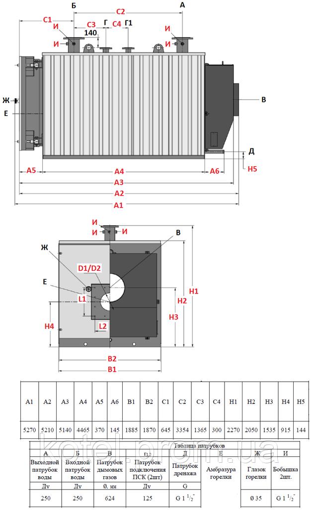 Размеры и присоединения газового котла Колви 5000