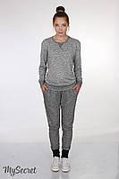 """Спортивные брюки для беременных """"Dget"""", черный меланж трехнитка, фото 1"""