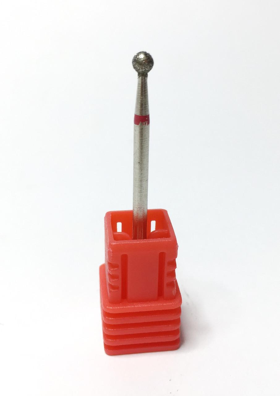 Насадка с алмазным напылением красная для обработки кутикулы и боковых валиков фреза для маникюра крупный шар