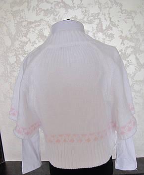 Белое вязанное болеро для девочек 128,140,152,164 роста Белоснежка, фото 2