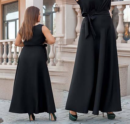 """Женская стильная длинная юбка в больших размерах 3239 """"Армани Макси Запах"""" в расцветках"""