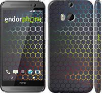 """Чехол на HTC One M8 dual sim Переливающиеся соты """"498c-55"""""""