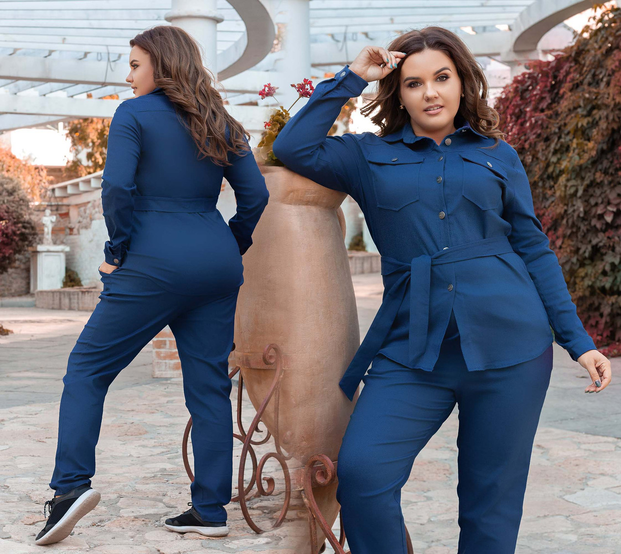 """Женский стильный брючный костюм в больших размерах 3265-1 """"Джинс Рубашка Карманы"""" в расцветках"""