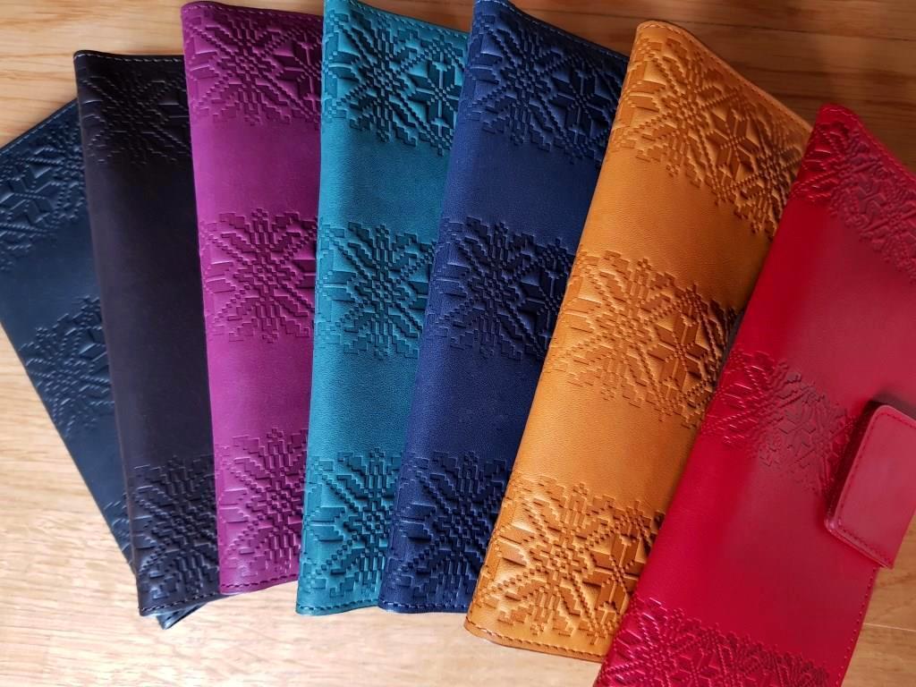 Кожаные кошельки Орнамент Вышиванка Цветы Завиток. Ассортимент Киев в наличии
