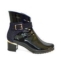 Стильные женские демисезонные ботинки, из лаковой синей кожи, декорированы стразами., фото 1