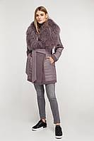 Пальто женское демисезонное с мехом ламы