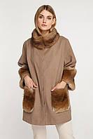 Кашемировое женское пальто с натуральным мехом , Oversize