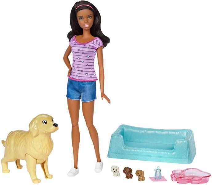 Barbie Кукла Барби и собака с новорожденными щенками афроамериканка FDD44 Newborn Pups and Doll