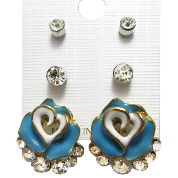 Набор Серьги Синяя Роза Сердца со Стразами + Пуссеты Стразы 2 пары, Металл, Эмаль, Бижутерия Сережки