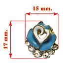 Набор Серьги Синяя Роза Сердца со Стразами + Пуссеты Стразы 2 пары, Металл, Эмаль, Бижутерия Сережки, фото 3