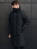 Мужская удлиненная зимняя куртка Стафф / Чоловіча зимова куртка Staff long black DSS0031