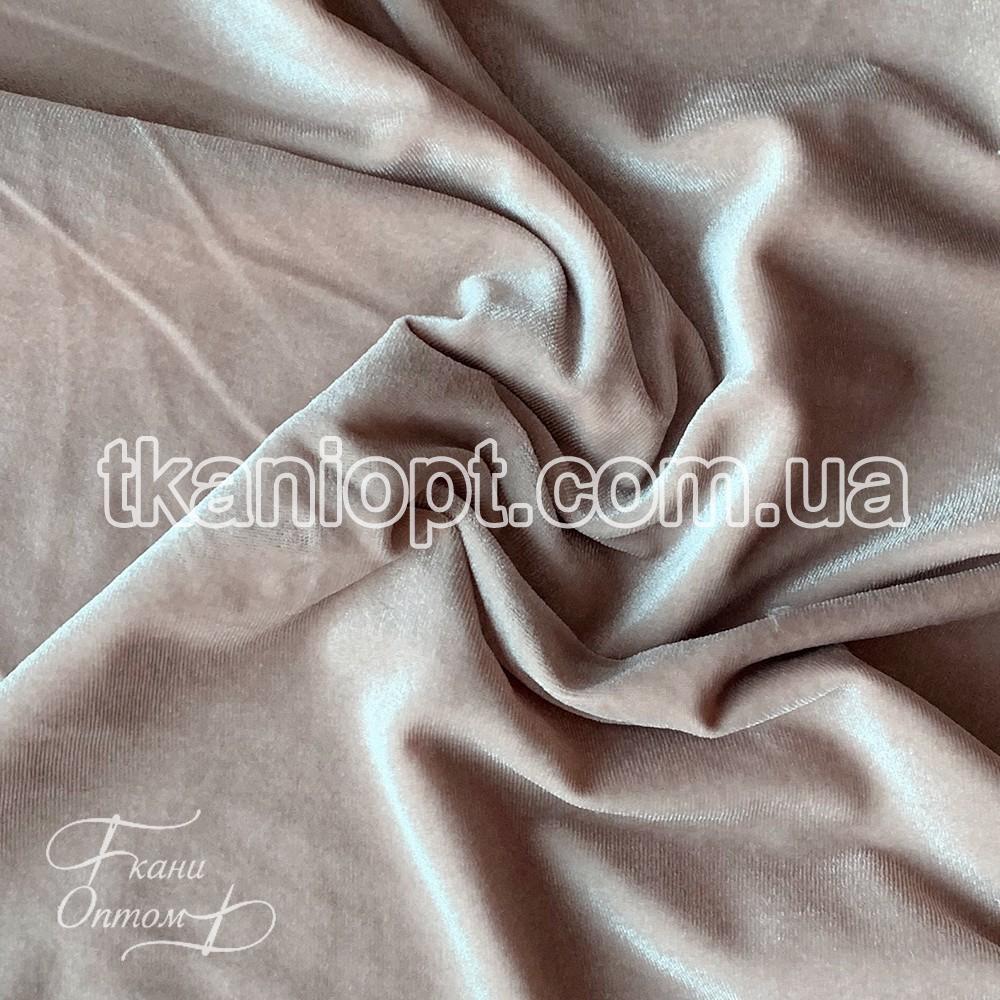 Ткань Стрейч бархат (светло-бежевый)