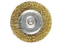 Щетка для дрели, 60 мм, плоская со шпилькой, латун. покр. витая проволока MTX 744469