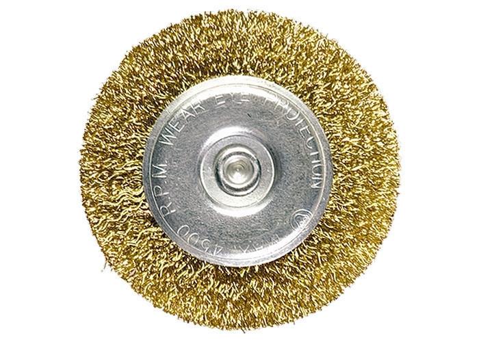 Щетка для дрели, 100 мм, плоская со шпилькой, латун. покр. витая проволока MTX 744509