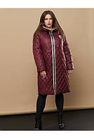 Зимнее женское пальто на молнии с капюшоном больших размеров (размеры 48-66)