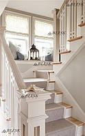 Лестница белая , из дуба для дома