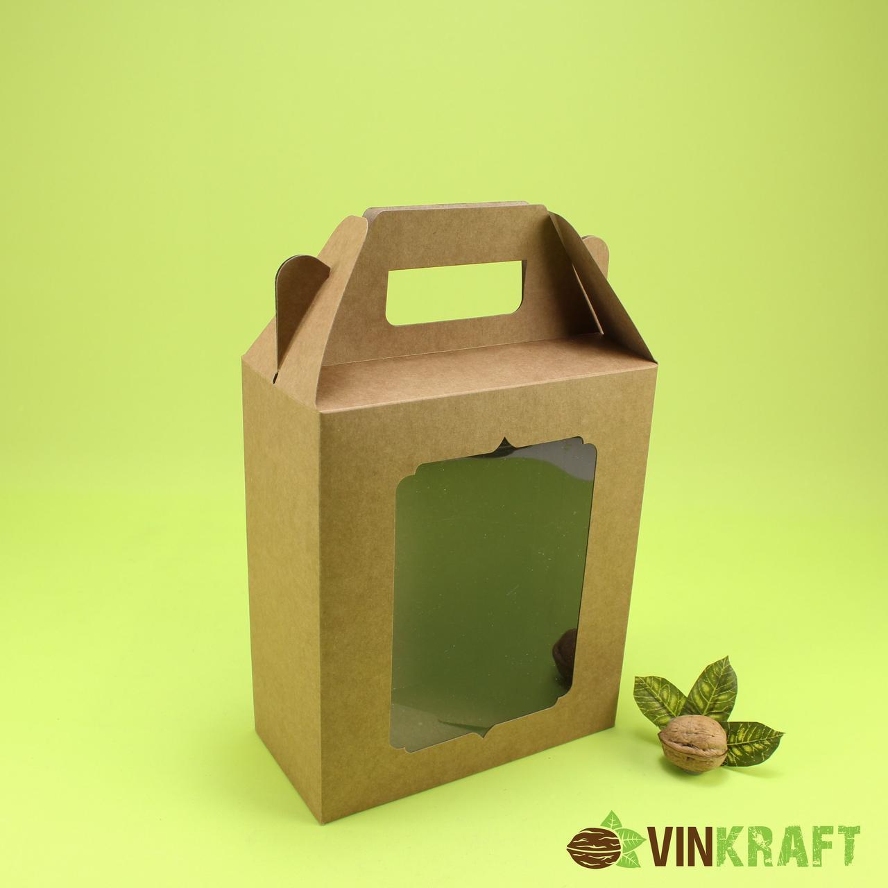 Подарункова коробка 180*90*210 з вікном та ручками, крафт