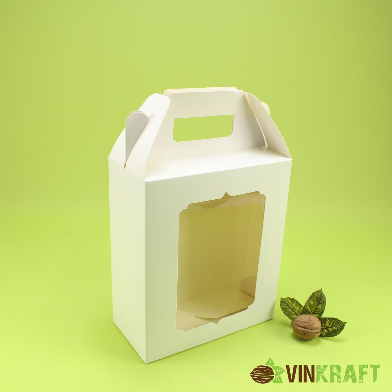 Подарункова коробка 180*90*210  з вікном та ручками, біла