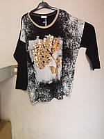 Туника черно-белая с золотой веткой La Velina