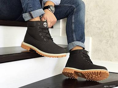 Коричневые мужские ботинки  эко кожа нубук внутри эко мех
