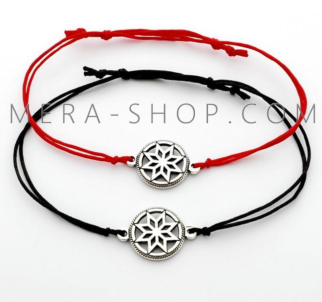 Красный браслет с серебряным оберегом звезда Алатырь