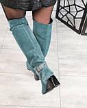 Элитная коллекция! Шикарные изумрудные демисезонные ботфорты на каблуке из итальянской замши, фото 5