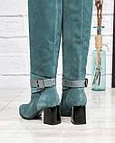 Элитная коллекция! Шикарные изумрудные демисезонные ботфорты на каблуке из итальянской замши, фото 6