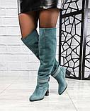 Элитная коллекция! Шикарные изумрудные демисезонные ботфорты на каблуке из итальянской замши, фото 3