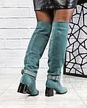 Элитная коллекция! Шикарные изумрудные демисезонные ботфорты на каблуке из итальянской замши, фото 7
