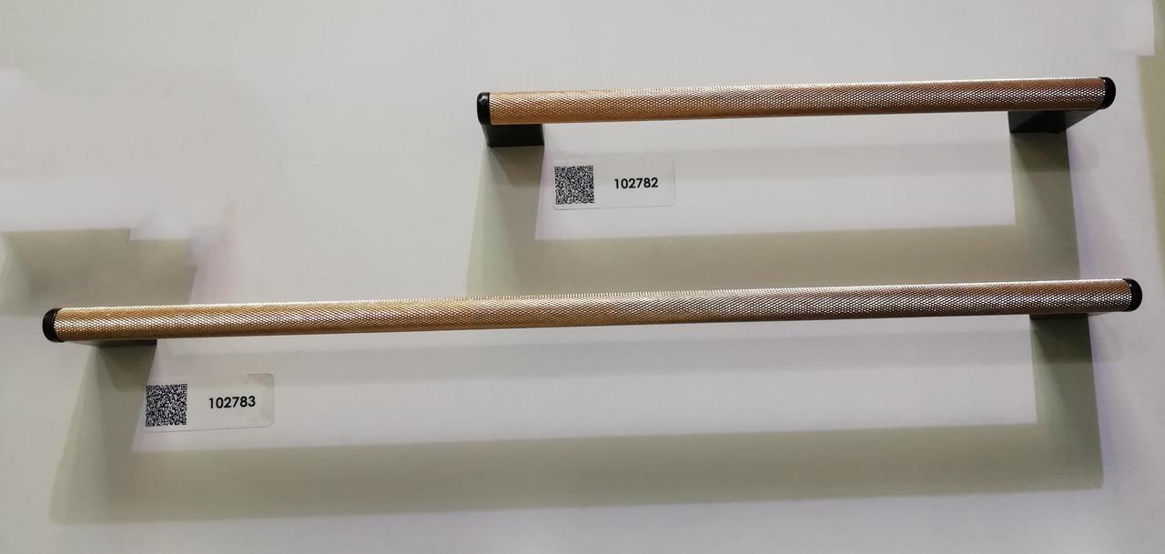 Ручка меблева релінгова Virno Lines 407 рожеве золото/чорне