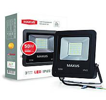 Прожектор 50W 5000K зручний монтаж гартоване скло IP65 Maxus