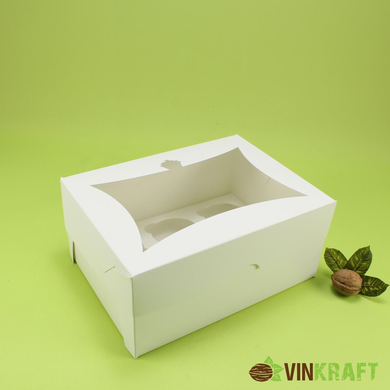 """Коробка 240*180*110 для капкейков  (висока) з вікном """"Кексік"""" (6 шт), біла"""