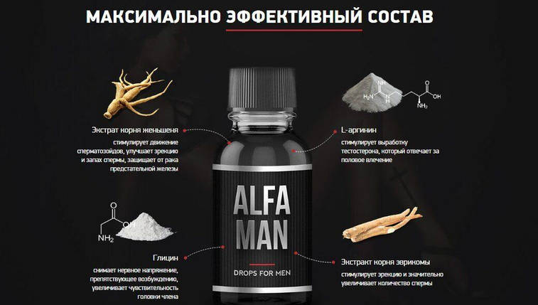 Капли для потенции Alfa Man (Альфа Мен), 30 мл, фото 2