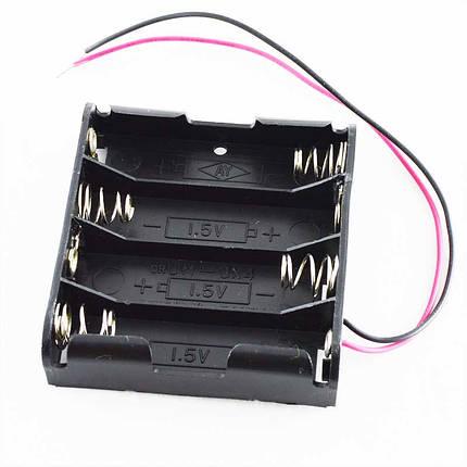 Кассета для 4 батареек типа АA плоская, фото 2