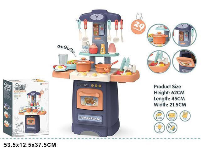 Детская кухня 62 см, 29 предметов, свет звук вода 889-175/176 синяя