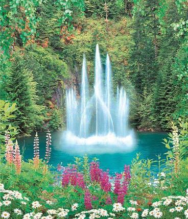 Фотообои,  фонтан, цветы, природа, Фонтан -Роскошь, 15 листов,  207х242см, фото 2
