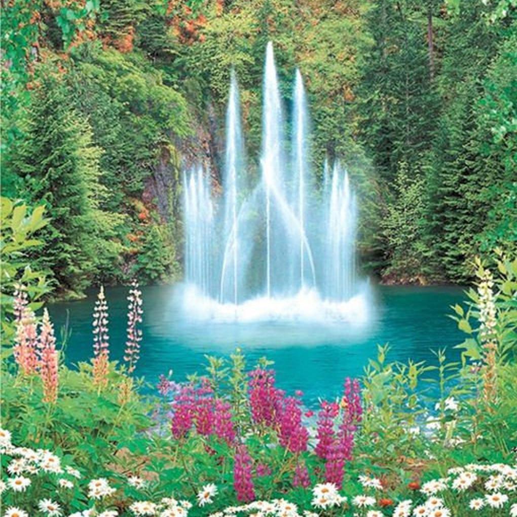 Фотообои,  фонтан, цветы, природа, Фонтан -Роскошь, 15 листов,  207х242см
