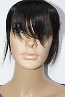 Накладка на волосы натуральная на обруче черная с челкой