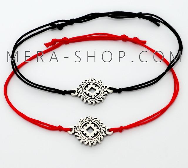 Красный и черный браслет с серебряным оберегом Репейник Счастья